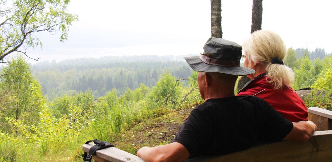 Man och kvinna som njuter av utsikt i en skog.