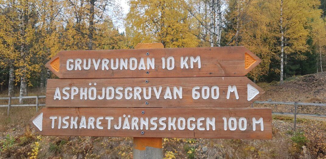 En skylt som visar tre olika vandringsleder.