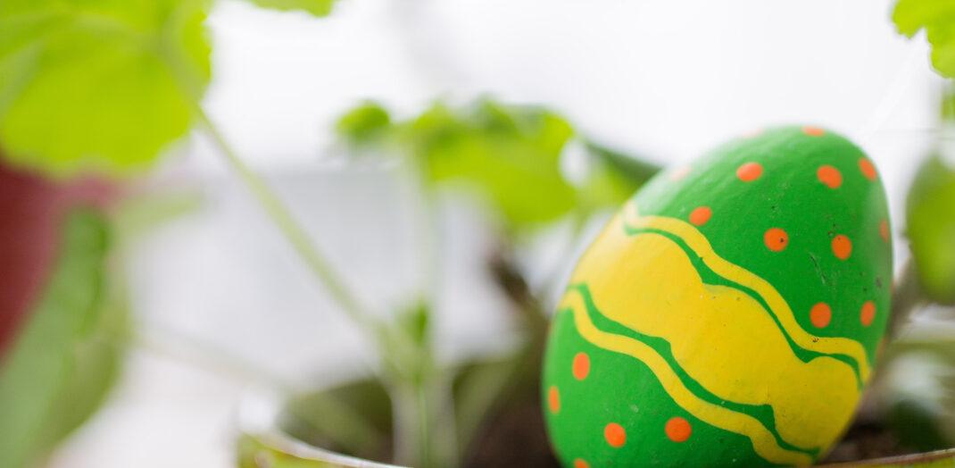 Grönt påskägg i en grön blomkruka.