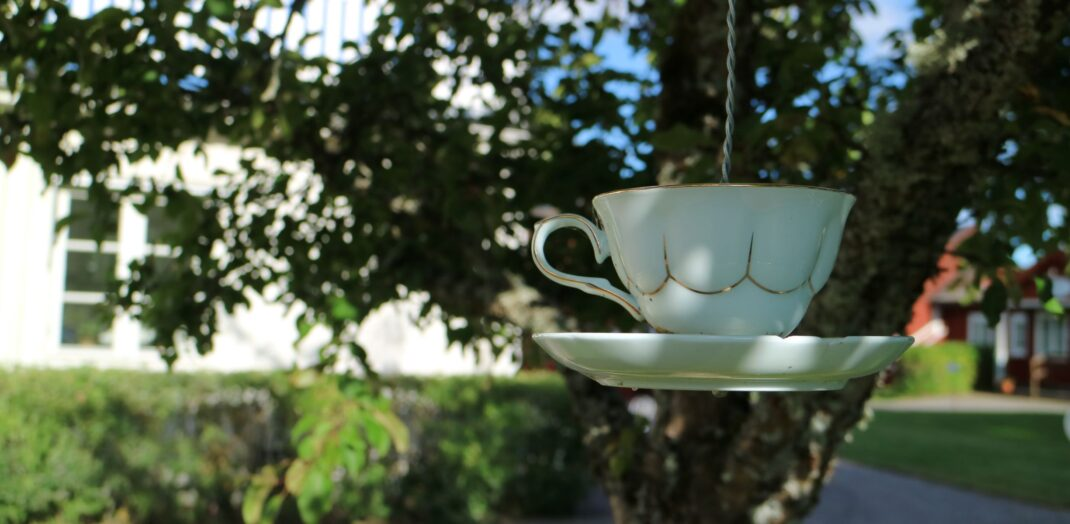 En vit kaffekop som hänger i ett träd i ett snöre.
